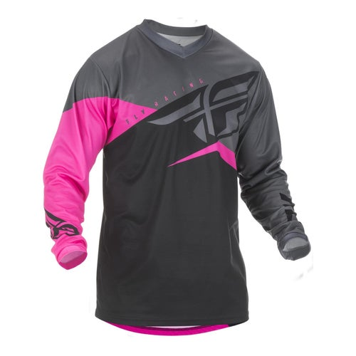 Fly F-16 Youth Jersey Motocross Jerseys - Neon Pink Black Grey
