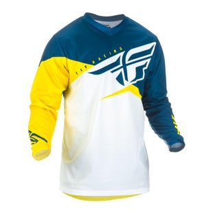 Fly F-16 Youth Jersey Motocross Jerseys - Yellow White Navy