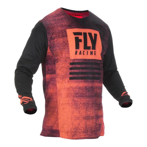 Fly Kinetic Noiz Jersey Motocross Jerseys - Neon Red Black