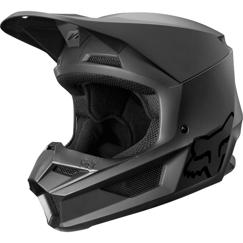 Fox Racing V1 Motif MX YOUTH Motocross Helmet - Matte Black