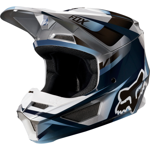 Fox Racing V1 Motif MX YOUTH Motocross Helmet - Blue Grey
