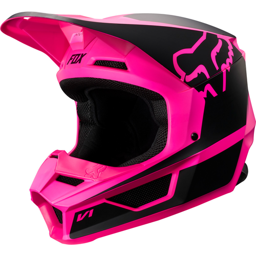 Fox Racing V1 Przm YOUTH Motocross Helmet - Black Pink