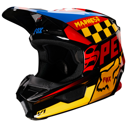 Fox Racing V1 Czar MX YOUTH Motocross Helmet - Black Yellow
