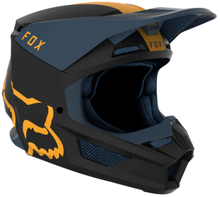 Fox Racing V1 Mata Motocross Helmet - Navy Yellow