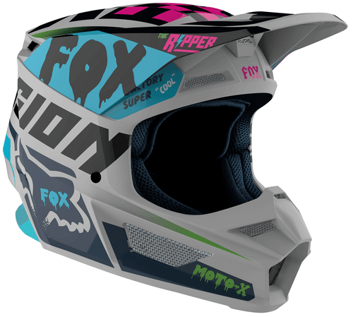 Fox Racing V1 Czar Motocross Helmet - Light Grey