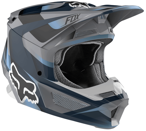 Fox Racing V1 Motif Motocross Helmet - Blue Grey