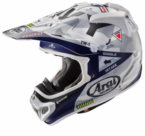 Arai MXV Navy Limited Edition Motocross Helmet - Silver Blue