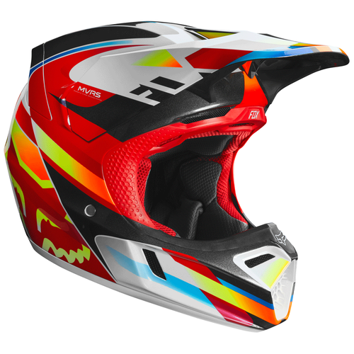Fox Racing V3 Motif Motocross Helmet - Red Yellow White