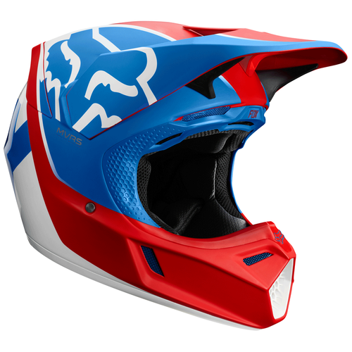 Fox Racing V3 Kila Motocross Helmet - Blue Red