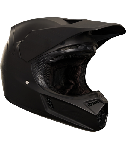 Fox Racing V3 Matte Carbon Motocross Helmet - Matte Black