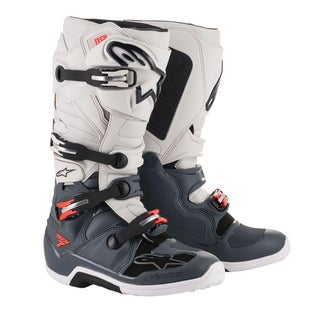 Botas MX Alpinestars Tech 7 - Dark Gray Light Gray Red Fluo