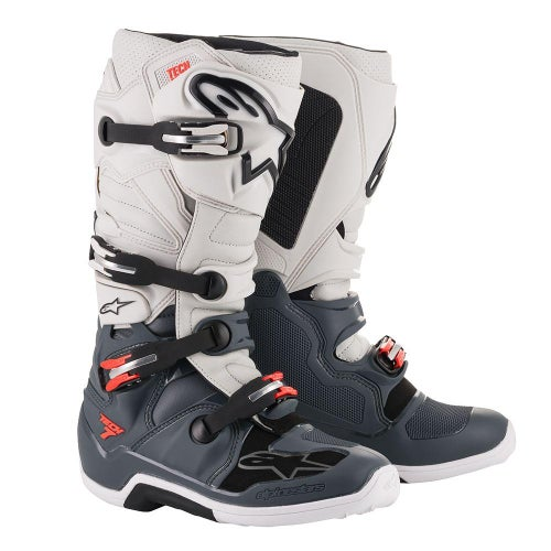 Alpinestars Tech 7 Motocross Boots - Dark Gray Light Gray Red Fluo