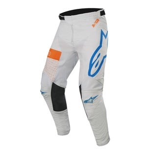 Calzones de MX Alpinestars Racer Tech Atomic - Cool Gray Mid Blue Orange Fluo