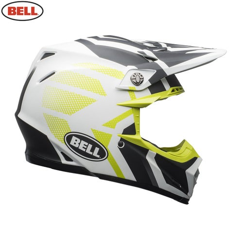 Bell Moto 9 MIPS Motocross Helmet - Matte District White Black Lime