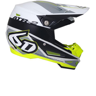 6D ATR2 Motocross Helmet - Metric White Black Flou Yellow