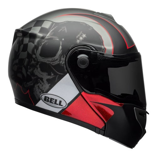Bell SRT Modular Hart Motocross Helmet - Luck Skull Charcoal White Red