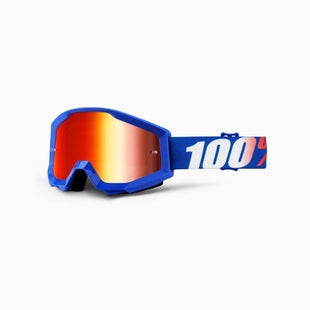 100 Percent Strata YOUTH Motocross Goggles - Nation ~ Mirror Blue Lens