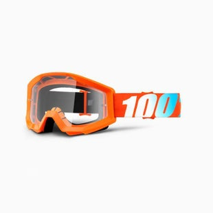 100 Percent Strata Youth Goggles Motocross Goggles - Orange - Clear Lens
