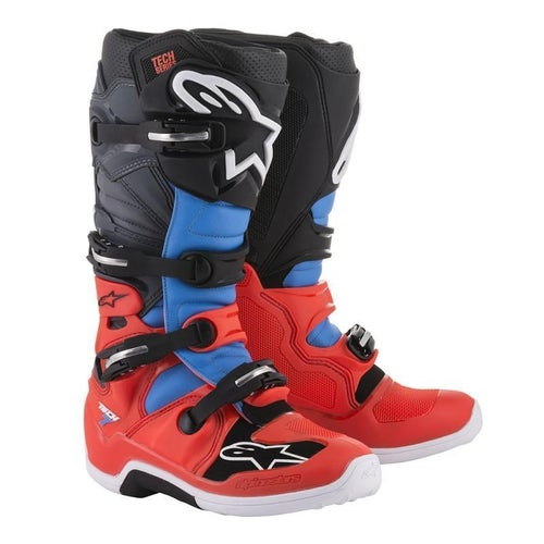 Alpinestars Tech 7 Motocross Boots - Red Fluo Cyan Gray Black