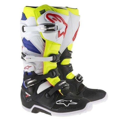 Alpinestars Tech 7 Motocross Boots - White Yellow Fluo Blue