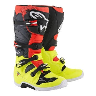 Botas MX Alpinestars Tech 7 - Yellow Flu Red Flu Gray Black