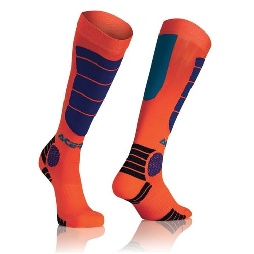 Acerbis MX Motocross Impact JUNIOR Boys MX Boot Socks - Fluo Orange Blue