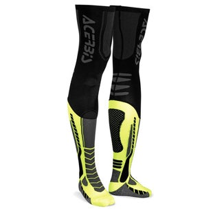 Acerbis MX Motocross XLeg Pro Knee Brace Socks - Black Fluo Yellow
