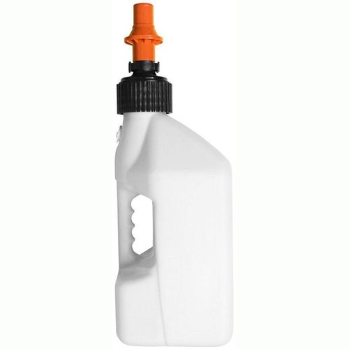 Fuel Can And Refueling Tuff Jug 10 Litre Motocross and Enduro ReFuelling Can inc Ripper Valve - White Orange