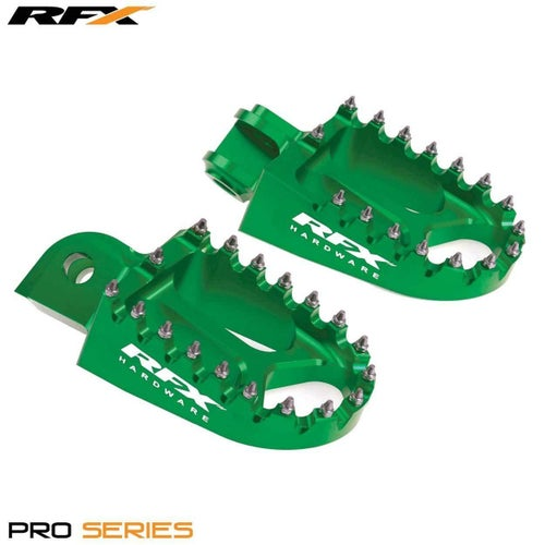 RFX Billet Anodised Wide Footpegs Green Kawasaki KXF250 06 , Foot Peg - Green
