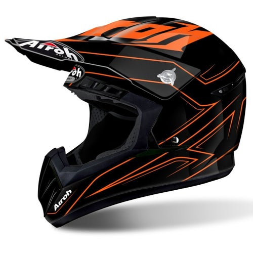 Airoh Switch Spacer Motocross Helmet - Orange Gloss