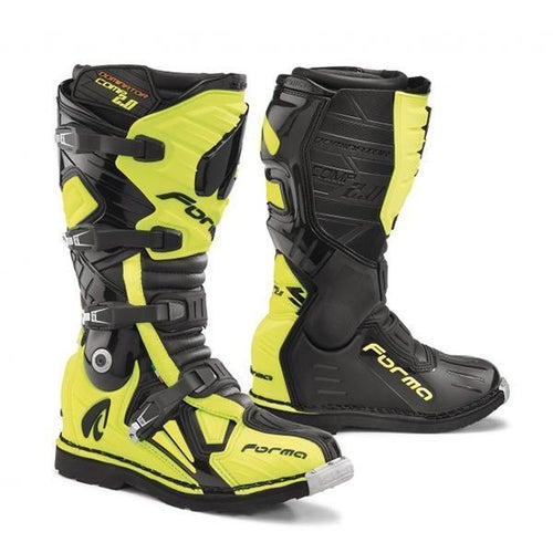 Forma Dominator Comp 2.0 Motocross Boots - Black Flo Yellow
