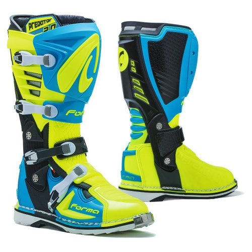 Forma Predator 20 MX Motocross Boots Motocross Boots - Light Blue Fluo Yellow