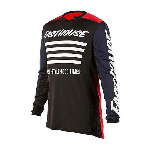 Fasthouse Stripes L1 Jersey Red Navy MX Trui - Stripes L1 Jersey Red Navy