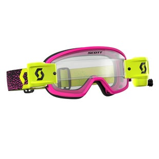 Scott Sports Buzz Motocross Goggles Works Roll Off System YOUTH Motocross Goggles - Pink Yellow