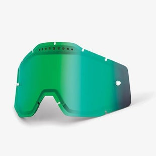 100 Percent Vented Motocross Goggle Lense - Mirror Green Vented Dual
