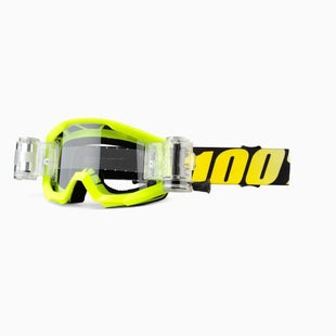 100 Percent Strata Roll Off YOUTH Motocross Goggles - Neon Yelllow ~ SVS Clear Lens