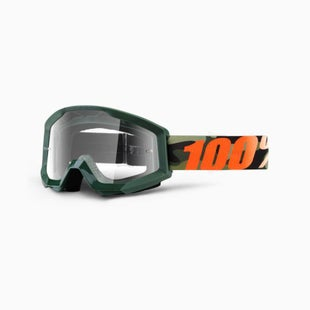100 Percent Strata Huntsitan Motocross Goggles - Black Orange ~ Clear Lens