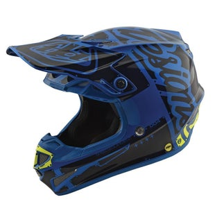 Troy Lee SE4 Polyacrylite YOUTH Boys Motocross Helmet - Factory Blue