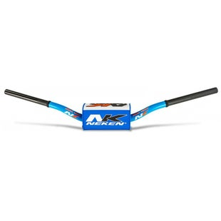 Neken Oversized Fat Bar Handlebars Light Blue White Inc Bar Pad Motocross Handlebars - 85cc Low