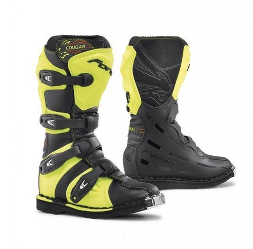 Forma Cougar YOUTH Motocross Boots - Black Fluo Yellow