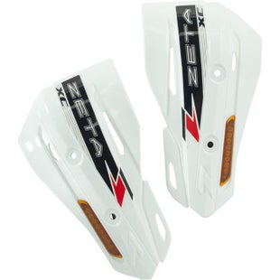Zeta ArmorGuard XC Protectors With Flasher Enduro and MX Hand Guard - White