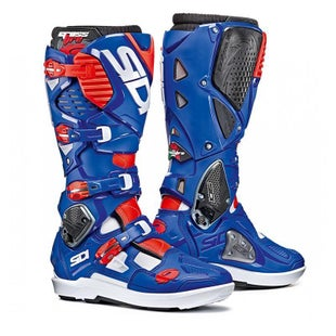 Sidi Crossfire 3 SRS Motocross Boots - White Blue Flou Red