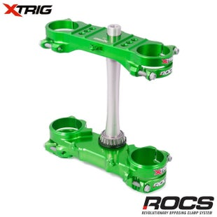 XTrig ROCS Tech Triple Clamp Set Kawasaki KXF250 450 1316 OS 23mm M Triple Clamp - Green