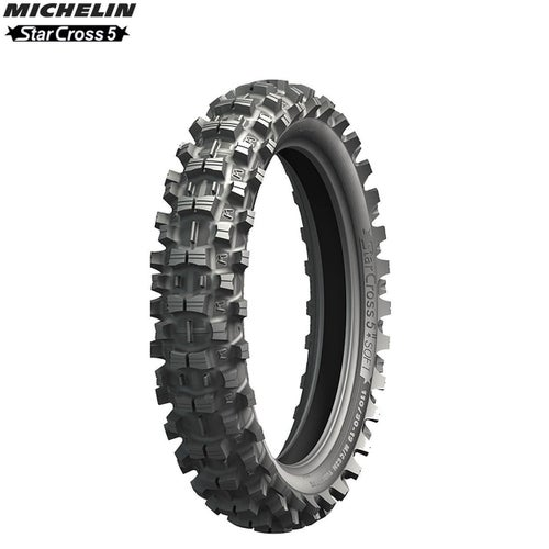 Michelin Offroad Rear Tyre Starcross 5 MX Soft Terr Size 110 90 , Motocross Tyre - Black