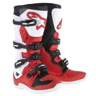 Alpinestars Tech 5 Five MX Motocross Boots - Red Black White