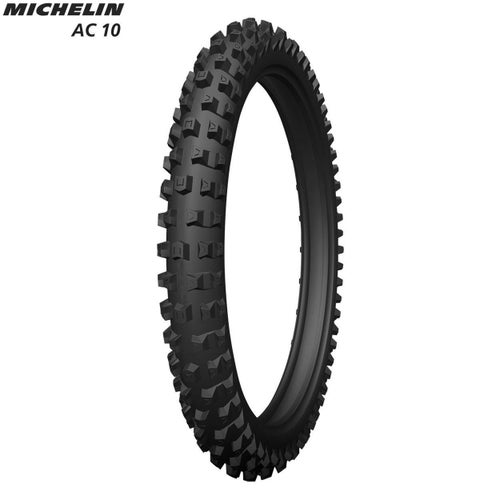 Michelin Front Tyre AC10 E Mark Road Legal Size 80 100 , Motocross Tyre - Black