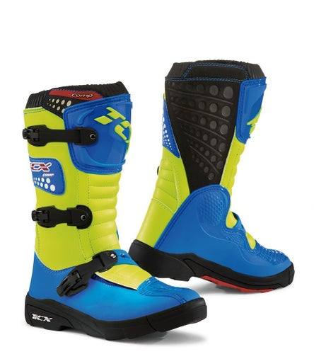 TCX Comp YOUTH Motocross Boots - Flou Yellow Blue