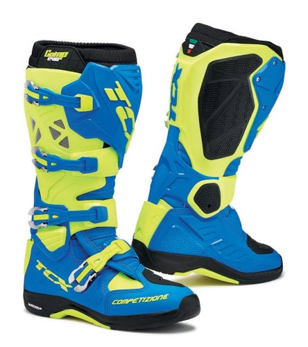 TCX Comp Evo 2 Michelin Motocross Boots - Blue Fluo Yellow