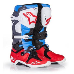 Alpinestars Tech 10 MX Motocross Boots - Bomber Red Aqua Anthracite White