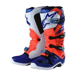 Alpinestars TLD Tech 7Red Flo Blue White Motocross Boots - Red Blue White